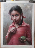 "Fine art original oil painting portrait of Nepali Girl with green apple 16""x24"""