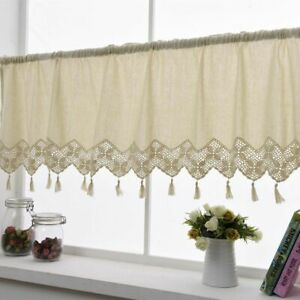 Country Cottage Kitchen Cafe Curtain Window Linen Hand Crocheted Lace Curtain