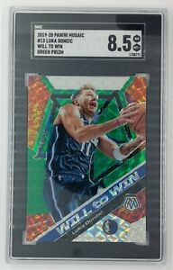 2019-20 Mosaic Will to Win Green Prizm Luka Doncic #13, Insert, Graded SGC 8.5