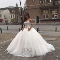 Prinzessin Carmen Brautkleid Off-Schulter Tüllrock Kristallen Schnürung Weiß 42