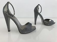 RENE CAOVILLA SILVER GRAY ENCRUSTED CRYSTAL SPARKLY PLATFORM SHOES SIZE 8