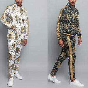 Men's Gold Accent Tiger Print Track Suits 2 Piece Sweat suit Set - ST556EY-G1C