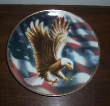 The American Eagle Plate by Franklin Mint - Porcelain with Flag & Gold Trim