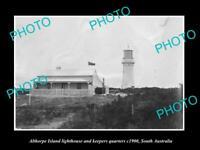 OLD LARGE HISTORIC PHOTO OF THE ALTHORPE ISLAND LIGHTHOUSE, SOUTH AUSTRALIA 1900