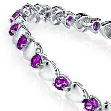 925 Sterling Silver Amethyst Heart Shaped Cubic Zirconia Puff Tennis Bracelet