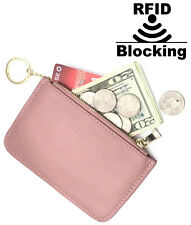 IXYVIA RFID Blocking secure Leather Zip Coin Purse with keychain Shell Pink