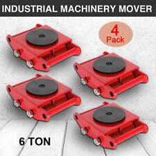 4 PCS 6T Red Industrial Machinery Mover W/Skate Roller 360°Rotation Cap E6