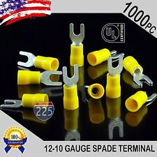 1000 Pack 12 10 Gauge Vinyl Spade Fork Crimp Terminals 8 Stud Tin Copper Core