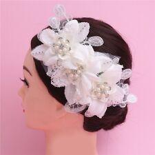 Elegant Bridal Wedding Hair Comb White Satin flower leaf Headpiece Fascinator UK