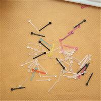 1bag Hot Sale Flex Retainer Clear Nose Ring Flat Top 20g Stud Bone Plastic
