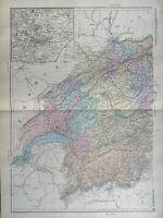 1891 Western Switzerland Hand Coloured Original Antique Map by G.W. Bacon