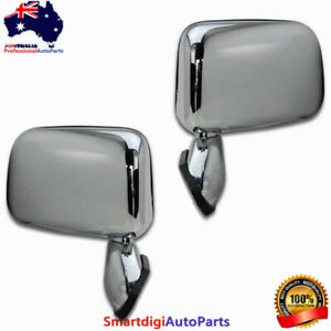 PAIR MANUAL CHROME DOOR MIRROR SKIN MOUNT WITH CAP FOR TOYOTA HILUX 1988-2005