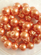 10mm Glass faux Pearls - Peach (40 round beads) jewellery making, (light orange)