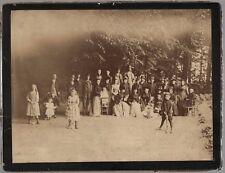 PHOTO ANCIENNE Famille Amis Croquet bois Jeu en extérieur Jouet Vers 1900 Loisir
