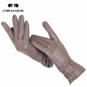 Classic Pleated Genuine Leather Gloves Women Sheepskin Winter Fashion Trendy