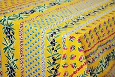"""LE CLUNY, OLIVES & MIMOSAS YELLOW, FRENCH PROVENCE COATED TABLECLOTH, 52"""" x 72"""""""