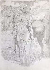 "Red Sonja (12""x17"") Original Art Comic Sexy Pinup By Jean - Ed Benes Studio"