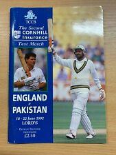 18-22 JUNE 1992 ENGLAND vs PAKISTAN @ LORDS CRICKET OFFICIAL SOUVENIR PROGRAMME