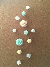 12 Decorative White Flower Thumbtacks Push Pins Cork Board Thumb Tacks Office-#2