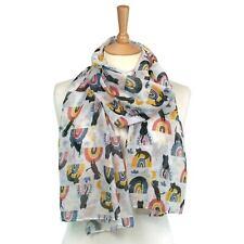 Leichte schwarze Katze auf Regenbogen weiß Schal Wrap Ladies Damen Schals Geschenk