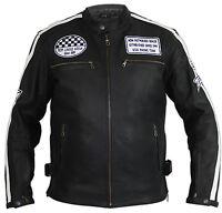 Herren Retro Biker Lederjacke Motorrad Jacke Race Streifen Rockerjacke Chopper