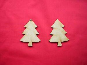 8cm / 80mm  MDF CHRISTMAS TREE x 10  LASER CUT SHAPE