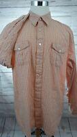 Men's Timberland Plaid Button Front Long Sleeve Shirt Orange Size XL