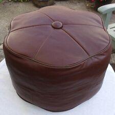 Vintage Sherborne Pouffe Footstool ~ Retro 1970s Chocolate Brown Original Labels