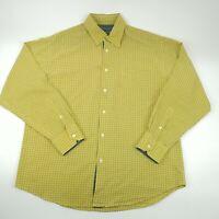 Bugatchi Uomo Mens Yellow Check Button Down Long Sleeve Shirt Size Large