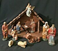Vintage Hand Painted Christmas Nativity 12 Pieces Manger Creche - West Germany