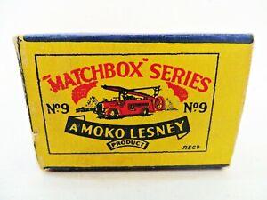 MATCHBOX LESNEY MOKO 9a 'DENNIS FIRE ENGINE' EMPTY ORIGINAL B1 BOX ONLY. GOOD