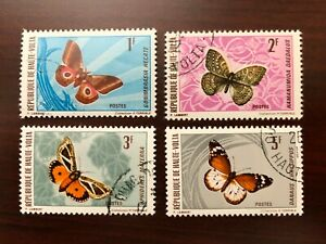 (4) Upper Volta 1971 Scott #244-247 Native Butterflies Cancelled CTO NH