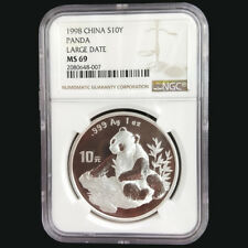 1998 China panda 1oz silver coin S10Y Large Date NGC MS69