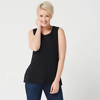Isaac Mizrahi Live! Essentials Scoop Neck Tank Top - Black - 3X