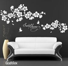 Wandtattoo Wandaufkleber • Ranke Blume Sweet home Kirschblüten Wohnzimmer  w308b