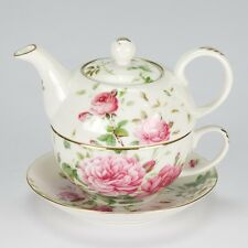NEW Vintage style Tea for One set Teapot cup rose shabby chic porcelain high tea