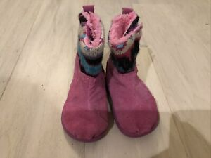 Preowned Tiny TOMS Size 4 Pink Blue Winter Girls Toddlers Boots Lined