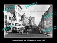 OLD POSTCARD SIZE PHOTO OF SAVANNAH GEORGIA THE MAIN STREET & STORES c1950