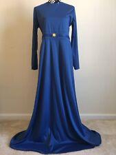 Long Blue Full Length Dress Sleeves Islamic Abaya Maxi Gown Hijab Blue Arab
