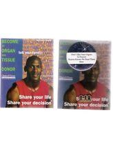 Michael Jordan 1996 Organ Tissue Donor Cards with Rarer Button Lapel Pin Mint
