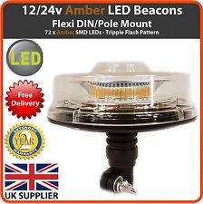 12 / 24V mod beacon LED FLESSIBILE DIN Pole Mount-TRATTORE lampeggiante luce stroboscopica AMBRA