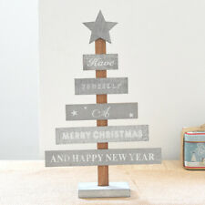Merry Christmas Bedroom Desk Decoration Gift Office Home Wooden Tree Grey