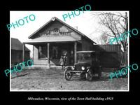 OLD LARGE HISTORIC PHOTO OF MILWAUKEE WISCONSIN, VIEW OF THE TOWN HALL c1925