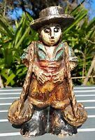Spanish Primitive Wood Carved Statue Marked Polychrome Peasant Vintage Folk Art