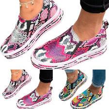 Women Slip On Flat Snakeskin Loafers Pumps Casual Trainers Sneakers Shoe SZ