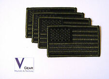 US USA American Flag patch SUBDUED OLIVE GREEN & BLACK **LOT of 4**