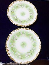 Limoges TRESSEMAN & VOGT-T&V France c1900s,  2 salad plates, green and gold[a4]