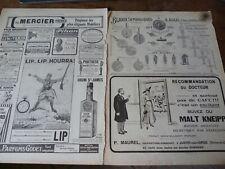 LIP montre 13 + AUGIS + MALT KNEIPP publicité papier ILLUSTRATION 1916