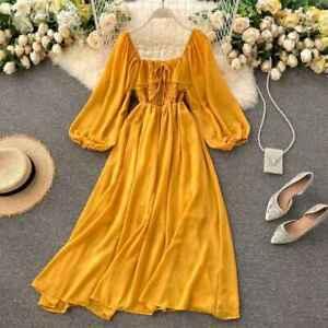 Square Collar Elegant Chiffon Chic Ruffle Dresses Puff Sleeve Vintage Fashion