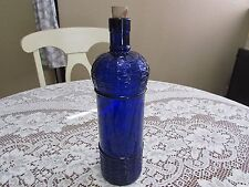 "Vintage Cobalt Blue Glass Bottle w/Cork 11"" Tall"
